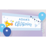 Foil Banner Christening Day - Blue Personalizable 120 x 45 c
