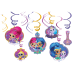 6 Swirl Decorations Shimmer & Shine Foil / Paper 61 cm