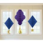 3 Honeycomb Decorations Eid Paper 28.5 cm / 42.5 cm