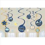 12 Swirl Decorations Twinkle Little Star Foil / Paper 61 cm