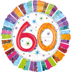 Standard Radiant Birthday 60 Foil Balloon S55 Packaged