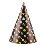 8 Party Cone Hats Smiley Emoticons Paper Height 16.1 cm