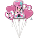 "Bouquet ""Minnie 1st Birthday"" 5 Foil Balloons, P75, packed"