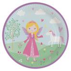 8 Plates Princess Round Paper 22.8 cm