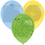 3 Latex Balloons Assorted 35.5 cm Labyrinth with Pen