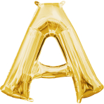 MiniShape Letter A Gold Foil Balloon L16 Packaged 35cm x 33c