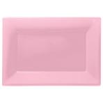 3 Platters New Pink Plastic Rectangular 33 x  23 cm