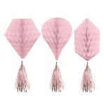 3 Honeycomb Decorations Rose Gold Blush Paper 30.4 cm
