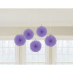 5 Fan Decorations New Purple Paper 15.2 cm