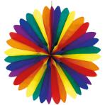 Decoration Fan Rainbow Paper flame retardant 120 cm