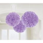 3 Fluffy Decorations Lilac Paper 40.6 cm