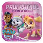 8 Plates Pink Paw Patrol Pink Paper Squared 22.8 x 22.8 cm