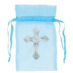 12 Organza Bags with Cross Blue 8.8 cm