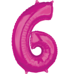 "26"" Number '6' Pink Foil Balloon P30 packaged 43cm x 66cm"