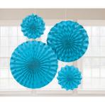 4 Fan Decorations Glitter Caribbean Blue Paper 20.3 cm / 30.4 cm / 40.6 cm