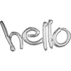 "Phrase Freestyle ""Hello"" Silver Foil Balloon, P20, packed, 83 x 45cm"