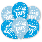 6 Latex Balloons All Round Printed Birthday Boy 27.5 cm / 11
