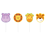 4 Mini Character Candles Jungle Animals Height 7 cm