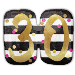 """SuperShape Holographic """"Pink & Gold Milestone 30"""" Foil Balloon, P40, packed, 63 x 50 cm"""
