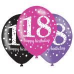 "6 Latex Balloons Age 18 Pink Celebration 27.5cm/11"""