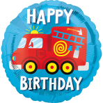 Standard Happy Birthday Fire Truck Foil Balloon S40 packaged