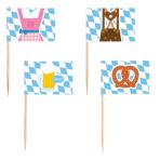 30 Picks Flags Bavaria Wood 6.5 cm