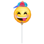 Mini Shape Happy Emoticon with Hat Foil Balloon, A30, airfilled, 20x25 cm