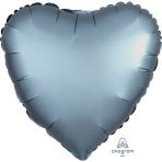 "Standard ""Satin Luxe Steel Blue"" Foil Balloon Heart, S15, packed, 43cm"