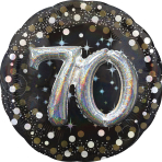 "Multi-Balloon Holographic ""Sparkling Birthday 70"" Foil Balloon, P75, packed, 91 cm"