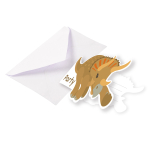 8 Invitations & Envelopes Happy Dinosaur Paper 8.5 x 12.7 cm