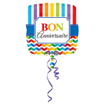Standard Stripes & Chevron BonAnniversaire Foil Balloon S40 Packaged 43 cm