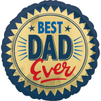 Standard Best Dad Ever Gold Stamp Foil Balloon S40 packaged