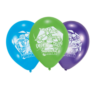 6 Latex Balloons Teenage Mutant Ninja Turtles 22.8 cm/9''