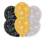 6 Latex Balloons Gold, Silver,Black