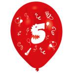 """8 Latex Balloons Age 5 2-Sided 25.4 cm / 10"""""""