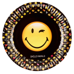 8 Plates Smiley Emoticons Paper Round 22.8 cm