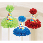 3 Fluffy Hanging Decorations Bright Birthday Paper 29.2 cm