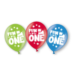 6 Latex Balloons Fun to be One Boy All Over Print 27.5 cm/11''