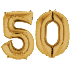 SuperShape Number Bunch 50 Gold Foil Balloon P75 Packaged 86cm