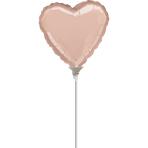 "9'' ""Rose Gold"" Foil Balloon Heart, D05, bulk, 23cm"
