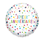 Standard EU Confetti Birthday Joyeux Anniversaire Foil Balloon Circle S40 Packaged