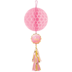 Honeycomb Decoration with Tassel Oh Baby Girl Paper 74.9 cm