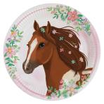8 Plates Beautiful Horses Round Paper 23 cm