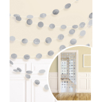 6 String Decorations Glitter Silver Foil 213 cm