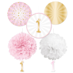 Decoration Kit 1st Birthday Pink Ombre Paper 5 Parts