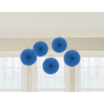 5 Fan Decorations Bright Royal Blue Paper 15.2 cm