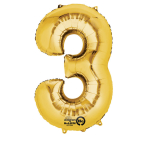 SuperShape Number 3 Gold Foil Balloon L34 Packaged 53cm x 88cm
