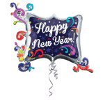 SuperShape Happy New Year Swirl Frame Foil Balloon P40 Packaged