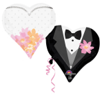 SuperShape Wedding Couple Hearts Foil Balloon P35 Packaged 76 x 63 cm