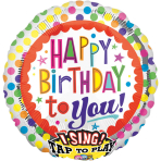 Sing-A-Tune Happy Birthday to You Dots Foil Balloon P60 Packaged 71 x 71 cm